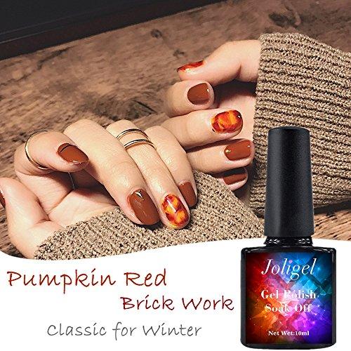 Vernis à ongles gel 10 ml Semi Permanent pour manucure pédicure UV LED, Soak Off, résine naturelle saine, sans odeur Rougeâtre Marron citrouille Châtain rouge