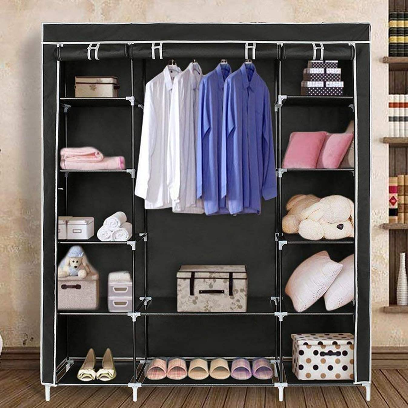 Blissun 59'' Portable Clothes Closet Non-Woven Fabric Wardrobe Storage Organizer