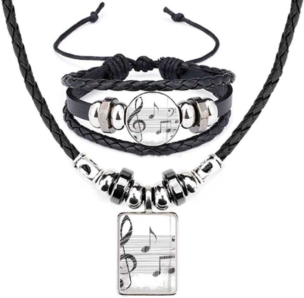 Classical Beatiful Music Simple Pattern Leather Necklace Bracelet Jewelry Set