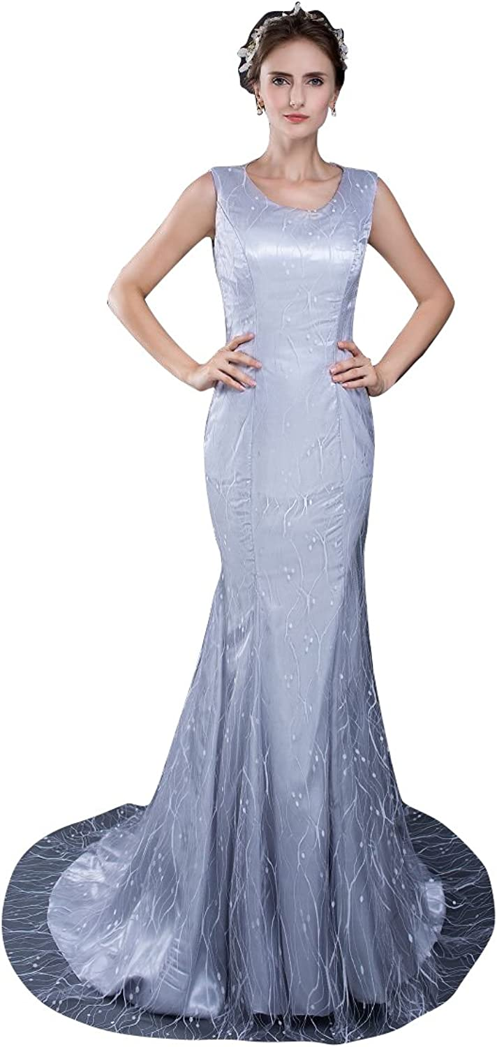 BeautyEmily Mermaid Lace ONeck Sweep Train Evening Dresses
