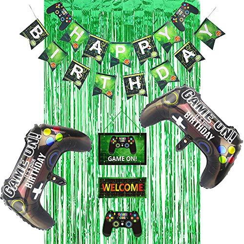 Juego de suministros para fiestas de videojuegos, pancarta de feliz cumpleaños, cortina de espumillón verde, decoración colgante de juego para fiestas de cumpleaños infantiles