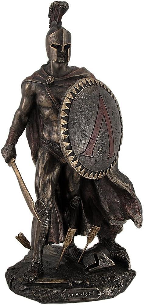 Statua bronzata leonida con spada e scudo