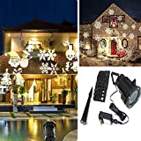ELONN Christmas Festival Lights Decoration,10 Replaceable Pattern LED Projector Image Motion Projection Lamp Snowflake Spotlight for Indoor & Outdoor Decorating (White)
