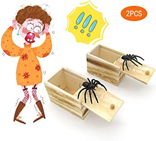 BIGPANDA 2PCS Spider Prank Box Wooden Box Plastic Spider Halloween Trick or Treat Party Gifts Children Toys