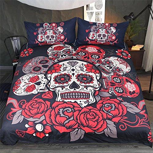 Parure de Lit 3D Skull Roses Gothique Noir Gris Rouge Impression Tête de Mort Couverture de lit Microfibre avec Fermeture à Glissière Housse de Couette et Taies D'oreiller (Noir & Rouge, 200x200cm)