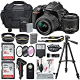 Nikon D5500 24.2MP CMOS Digital DSLR Camera & Nikon 18-55mm f/3.5-5.6G DX VR II Lens + HD 52mm Wide Angle Lens & HD Pro 52mm Telephoto Lens + Total of 32GB SDHC Class 10 & Deluxe Bundle