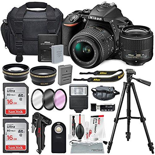 Nikon D5500 24.2MP CMOS Digital DSLR Camera & Nikon 18-55mm f/3.5-5.6G DX VR II lens + HD 52mm Wide angle Lens & HD Pro 52mm Telephoto lens + Total of 24 GB SDHC Class 10 & Deluxe Bundle