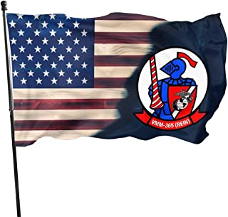UNSTARFLAG American Flag by U.S. Veterans Owned VMM-365 Blue Knights Insignia Flag 3x5 Ft