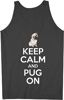 Keep Calm And Pug On 犬 Lovers 男性用 Tank Top Sleeveless Shirt