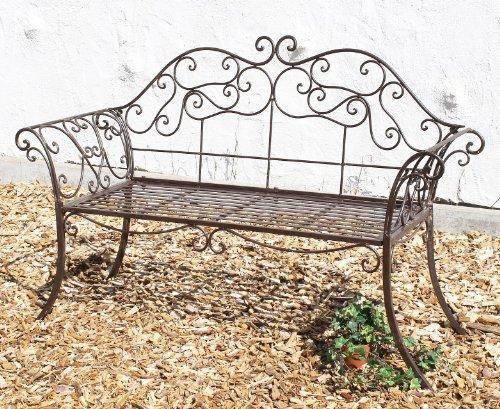 DanDiBo Gartenbank 111183 2 Braun Bank 146 cm aus Schmiedeeisen Metall Sitzbank Parkbank - 4