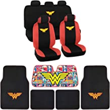 BDK WB Seat Cover, Carpet Floor Mat and Sun Shade - Warner Brothers 16 Piece Full Interior Protection Auto Accessories (Wonder Woman)