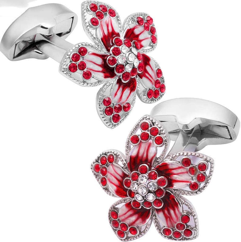 GYZX Fashion Flower Cufflinks with Crystal Shirt Cufflinks for Mens Wedding Business Shirt Cufflinks (Color : Red)