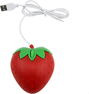 xiaoxioaguo Cute strawberry USB computer mouse portable small wired optical PC3d fruit shape girl gift