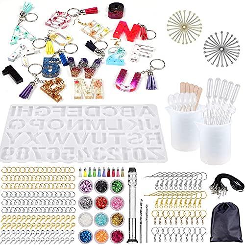 Swetup 363 letras de resina epoxi, letras del alfabeto, resina moldeada, número de resina moldeada con vaso medidor y palitos para llavero, número de casa, pendientes, pulseras