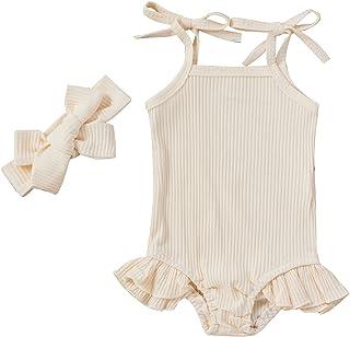 طفل الفتيات القطن رومبير الرضع أكمام التعادل النفس حزام بذلة الوليد كشكش ارتداءها مع عقال (Color : Beige, Kid Size : 18M)