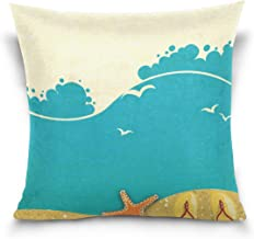 "MASSIKOA Yellow Beach Starfish Seashells Slipper Decorative Throw Pillow Case Square Cushion Cover 20"" x 20"" for Couch, Be..."