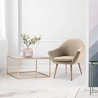 Mc Haus NAVIAN - Sillón Nórdico Escandinavo de color Beige, butaca comedor salón dormitorio, sillón acolchado con Reposabrazos y patas de madera 74x64x76cm