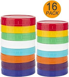 16 Pack Colored Plastic Mason Jar Lids – 8 Wide Mouth & 8 Regular Mouth Ball Mason Lids by WISH