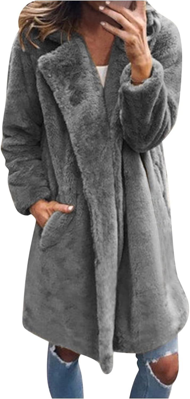 Misaky Coat for Women, Autumn Winter Warm Faux Fur Jacket Gradient Color Parka Outerwear