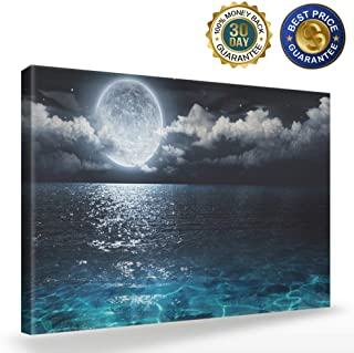 Wall Art Moon Sea Ocean Landscape Picture Canvas Wall Art Print Paintings Modern Artwork for Living Room Wall Decor and Home Decor Framed Ready to Hang,Waterproof Artwork,12x16 inch