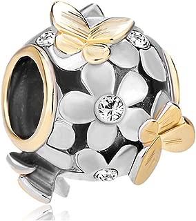 Best Gift for Mom Butterfly Flower Jan-Dec Birthstone Crystal Charms Beads for Bracelets