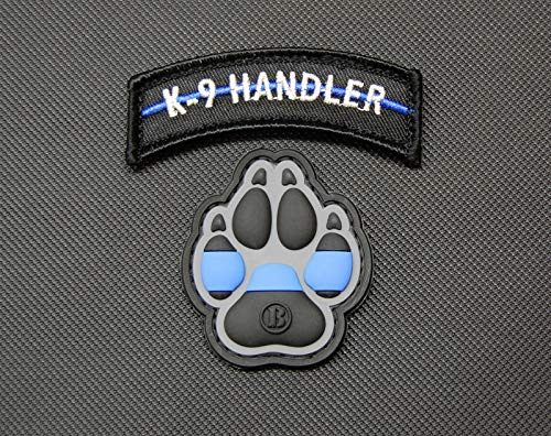 BritKitUSA K9 Thin Blue Line PVC Patch Police Dog Handler Patch Set Morale Patch Hook