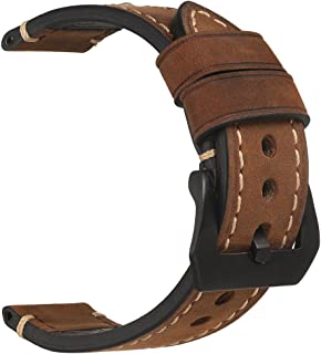 Leather Watch Bands for Men,Vintage Crazy Horse Leather & Vegetable Tanned Leather & Oil Waxed Leather Thick Watch Bands 18mm 20mm 22mm 24mm 26mm