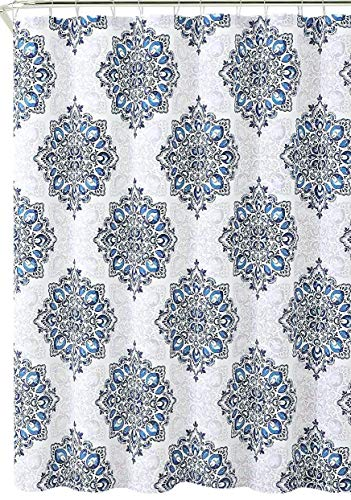 Tranquility Navy Blue White Fabric Shower Curtain: Floral Medallion Damask Design