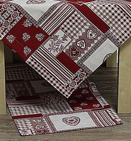 Hossner Tischläufer Taylor Herzen & Ornamente rot weiß 50x150cm