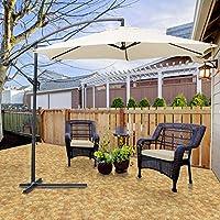 Hengda® Jardín Sombrilla Parasol Sombrilla de Terraz protección UV 3.5m Beige con Manivela Para terraza jardín Playa Inclinable Camping