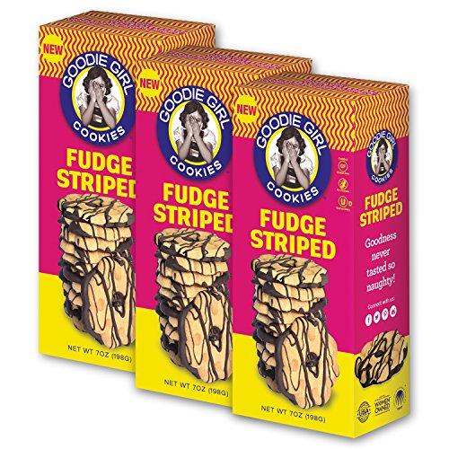 Goodie Girl Cookies, Fudge Striped | Gluten Free | Peanut Free | Kosher | 7oz Boxes, Pack of 3