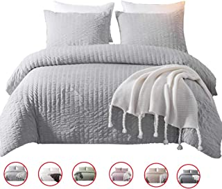 DuShow Solid King Duvet Cover Set Gray Washed Cotton Bedding Set 3 Pieces Seersucker Zipper Comforter Cover Set Hotel Quality
