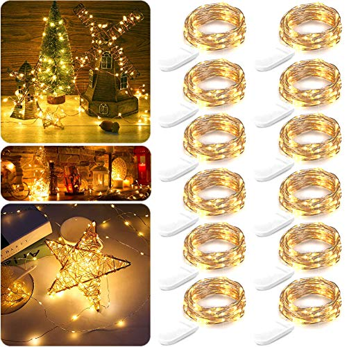 12 Pack LED Fairy String Lights Battery Operated, 6.9ft 20 LEDs Waterproof Silvery Copper Wire Lights, Flexible Firefly Starry Christmas Lights for Bedroom Wedding Party Mason Jar (Warm White)