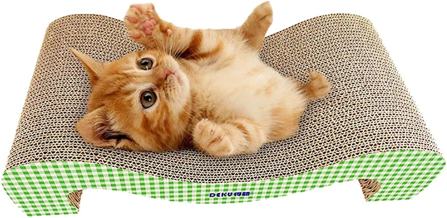 Carriemeow Corrugated MShaped cat Scratch Board wearResistant Bite Resistance Cat Claw Toy (color   Green)