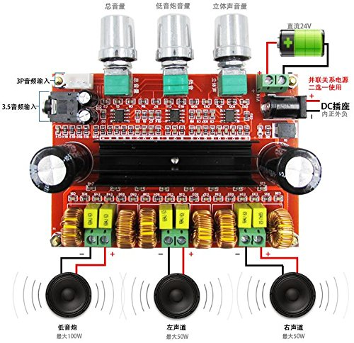 Best Bargain LILIERS Amplifier Board TPA3116D2 50Wx2+100W 2.1 Channel Digital Subwoofer Power 12~24V...