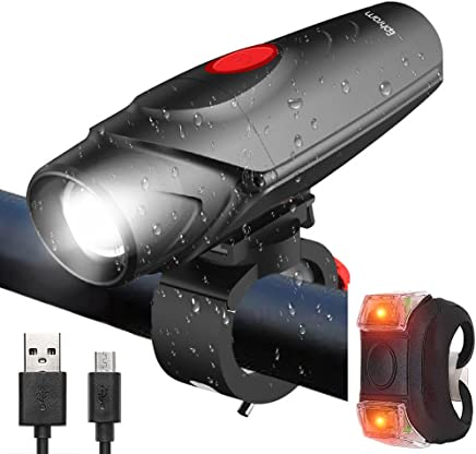 Ephram USB Rechargeable LED Bike Light, 12 Hours Lighting Bicycle Light IP45 Bike Headlight Safety Bike Front Lights Free with Taillight Set Fits ALL Bikes Easy Install Quick Release For Night Cycling Safety 4 Flashing Modes