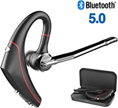 BANIGIPA Bluetooth V5.0 Headset with Microphone, Wireless HD Stereo Headset, Handsfree in-Ear Piece Earphones for Business,delivery Driver, Noise Cancelling, 10 Hours Talk Time, flip-Boom mic