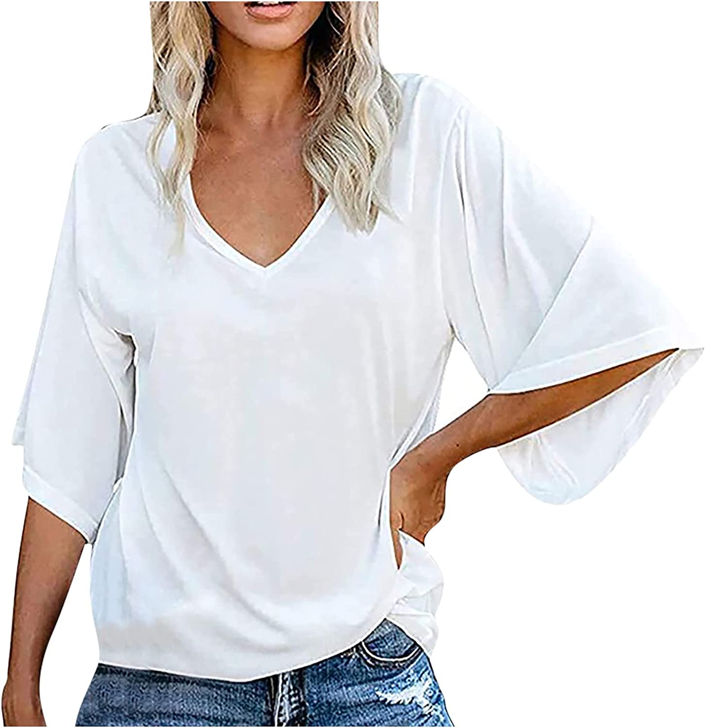 Women's Summer Tops Plus Size Casual Batwing 3/4 Sleeve V Neck Solid Color Vintage Tuinc Top Shirts T-Shirt Blouse Tee