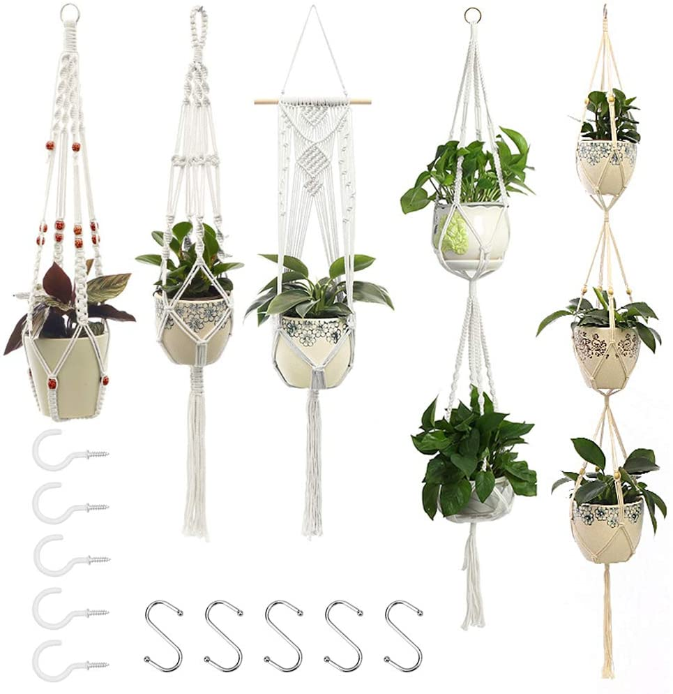 5 Sales for sale Pcs Free shipping on posting reviews Different Macrame Plant Rope Hangers-Hand-Knitted Cotton B