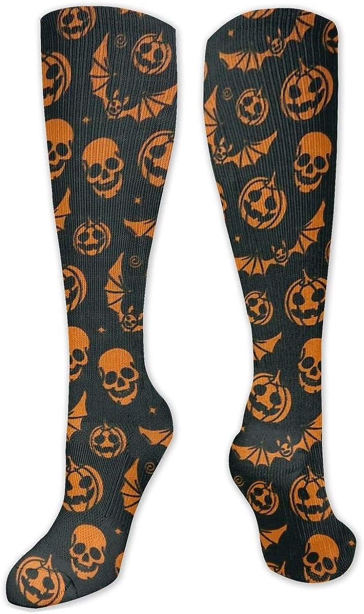 Halloween Pumpkin Skull Knee High Socks Leg Warmer Dresses Long Boot Stockings For Womens Cosplay Daily Wear