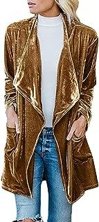 Howely Women's Fall Winter Velvet Top Coat Mid-Long Cardigan Outwear Trench