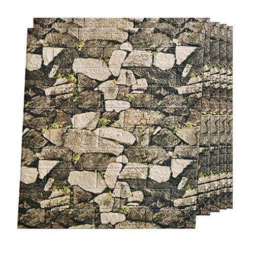 AUEDC 10 Piezas de Paneles de Pared 3D, Azulejos de Pared autoadhesivos de Bricolaje, Papel Pintado Impermeable para decoración del hogar, Efecto de mampostería para Dormitorio 70x77 CM,Gray 2