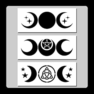 Set of 3 Triple Moon Stencils Templates 3 X 7 inches Each Wiccan/Pagan/Stars/Goddess/Crescent Moons