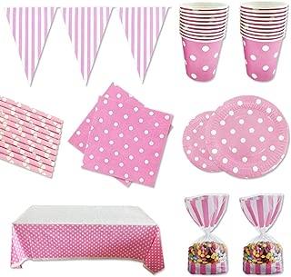 Fiesta Cotigo- Set de Artículos Vajilla Desechables para Fiesta de Cumpleaños :Platos,Vasos,Servilletas,Mantel,Bolsas de Caramelos,Pajitas,Guirnalda Banderínes Color Rosa a Lunares Para 16 Invitados