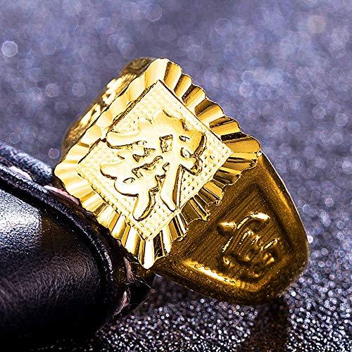 Keai Open herenring koper verguld 24K verguld echt goud gesneden Fukui woord vintage ring