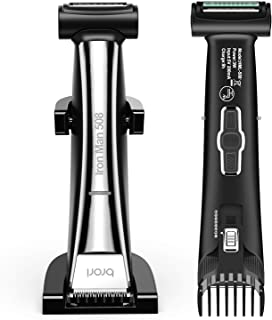Brori Mens Body Hair Groomer - Dual-Sided Body Trimmer and Shaver for Men Ceramic Blade Showerproof with Charging Stand