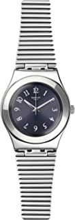 Swatch Womens Quartz Watch, Analog Display and Stainless Steel Strap YLS186G