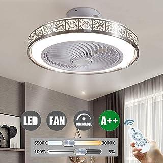 RUIXINBC Ventilador De Techo Lámpara De Techo LED De 72 W con Iluminación Y Control Remoto, Velocidad del Viento Ajustable Y Luz De Ventilador De Techo Ultra Silenciosa Regulable,Plata