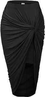 RK RUBY KARAT Womens Asymmetrical Draped Wrap Cut Out Hi Low Bodycon Midi Skirt