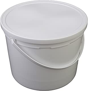 Case of 12 10-5//8 Diameter x 10-1//4 Height Continental 8110WH 10qt Capacity Huskee White Bucket with Steel Handle and Pour Spout